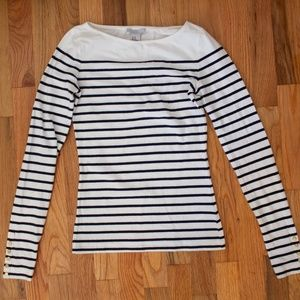 H&M striped nautical sailor boatneck knit top XS